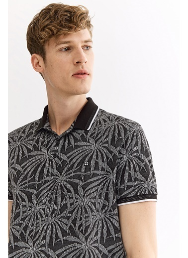 Avva Erkek  Polo Yaka Jakarlı  Tişört A01Y1094 Siyah